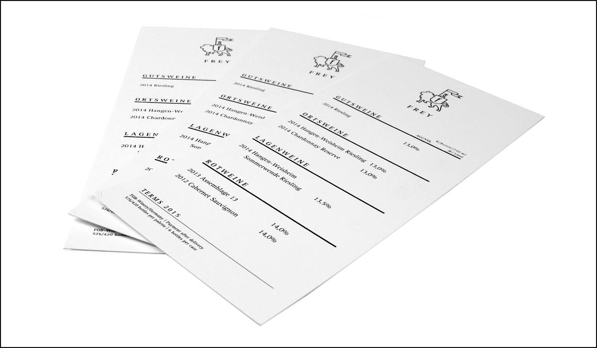 Weingut Frey – Corporate Design – Preisliste